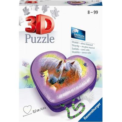 Ravensburger-11171 Puzzle 3D - Boîte Coeur - Chevaux