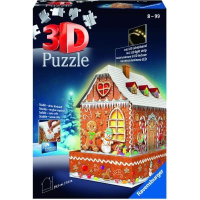 Ravensburger-11237 Puzzle 3D avec LED - Maison en Pain d'Epices