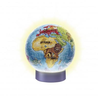 Ravensburger-12184 Puzzle 3D avec Led - Globe Mappemonde