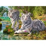 Ravensburger-14793 Famille de Tigres Blancs