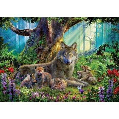 Ravensburger-15987 Famille de Loups dans la Forêt