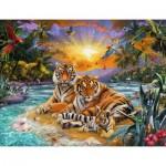 Ravensburger-16624 Famille de Tigres au Coucher du Soleil