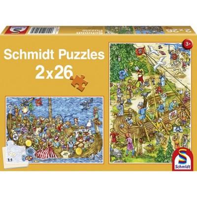 Schmidt-Spiele-56008 2 puzzles : Avec les Vikings