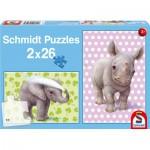 Schmidt-Spiele-56107 2 puzzles : Les bébés du zoo