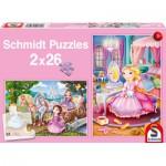 Schmidt-Spiele-56126 2 Puzzles - Princesses Féériques
