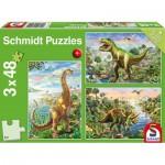Schmidt-Spiele-56202 3 Puzzles - Dinosaures