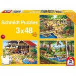 Schmidt-Spiele-56203 3 Puzzles - Tous mes Animaux Préférés