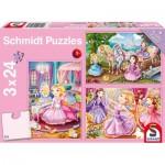 Schmidt-Spiele-56217 3 Puzzles - Princesses
