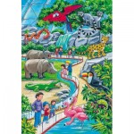 Schmidt-Spiele-56218 3 Puzzles - Une Journée au Zoo