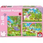 Schmidt-Spiele-56225 3 Puzzles - Princesses