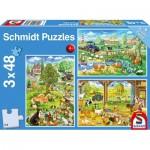 Schmidt-Spiele-56353 La Ferme (3x48 Pièces)