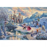 Schmidt-Spiele-59671 Thomas Kinkade Disney - Beauty and the Beast, Magical Winter Evening