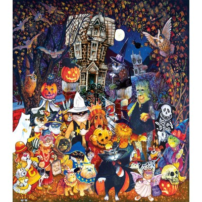 Sunsout-21893 Pièces XXL - Cats and Dogs on Halloween
