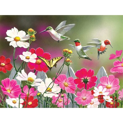 Sunsout-30412 Pièces XXL - Cosmos and Hummingbirds