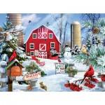 Sunsout-35013 Pièces XXL - A Snowy Day on the Farm