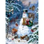 Sunsout-59796 Liz Goodrick Dillon - Winter Cabin Snowman