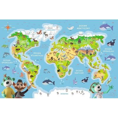 Trefl-15552 Carte du Monde (en Polonais)