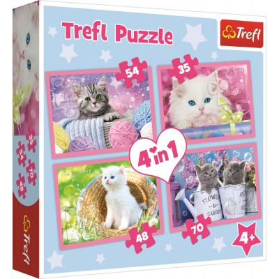 Trefl-34330 4 Puzzles - Chatons
