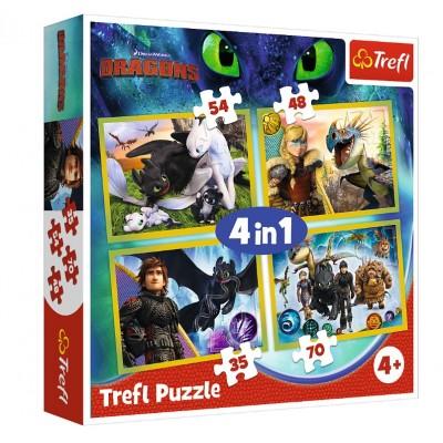 Trefl-34341 4 Puzzles - Dreamworks - Dragons