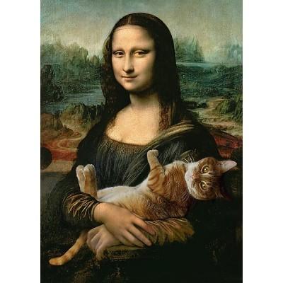 Trefl-37294 Mona Lisa and Purring Kitty