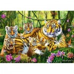 Trefl-37350 Famille de Tigres