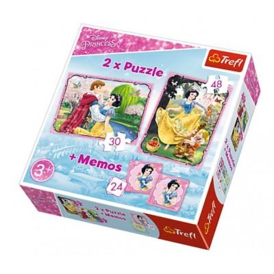 Trefl-90603 2 Puzzles + Memo - Disney Princess