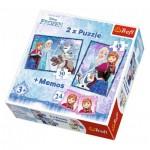 Trefl-90617 2 Puzzles + Memo - La Reine des Neiges