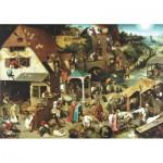 Wentworth-RMN225 Puzzle en Bois - Pieter Brueghel: Les Proverbes Flamands