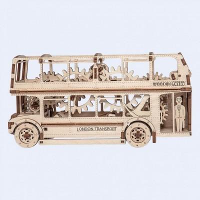 Wooden-City-WR303-8022 Puzzle 3D en Bois - London Bus