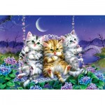 Art-Puzzle-5086 Kittens swinging in the Moonlight