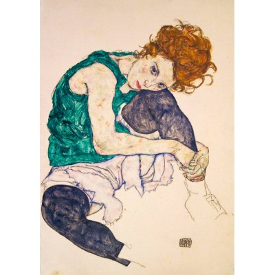 Art-by-Bluebird-Puzzle-60092 Egon Schiele - Seated Woman with Legs Drawn Up, 1917