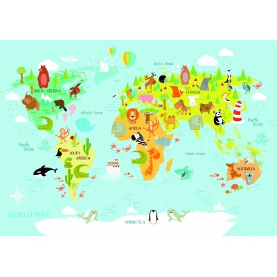 Bluebird-Puzzle-70357 World Map for Kids