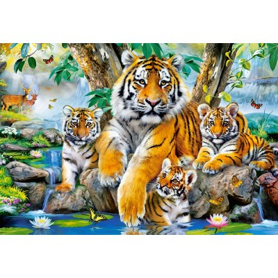 Castorland-104413 Tigers by the Stream