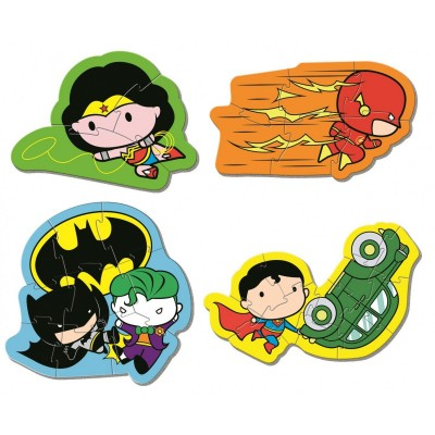 Clementoni-20830 My First Puzzle - Justice League (4 Puzzles)