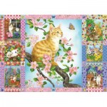 Cobble-Hill-80272 Blossoms and Kittens Quilt