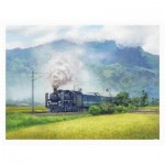 Pintoo-H2323 Lai Ying Tse - A Steam Train Passes Through the Rice Fields