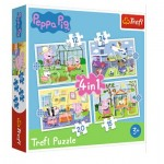 Trefl-34359 4 in 1 - Holiday reccolection - Peppa Pig